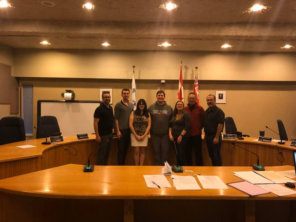 Mayor & Council with Student Councillors Blanchette and Hatton.