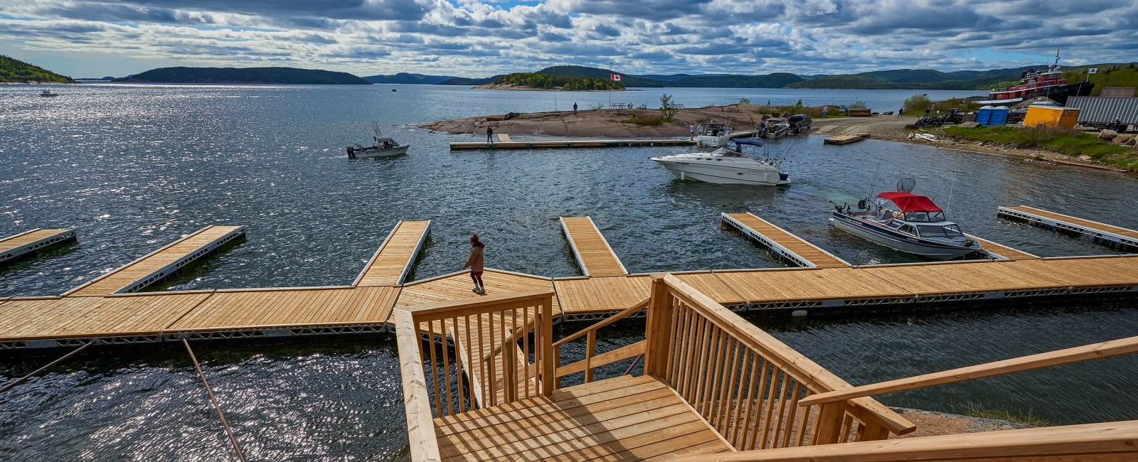 wooden docks and boat launch